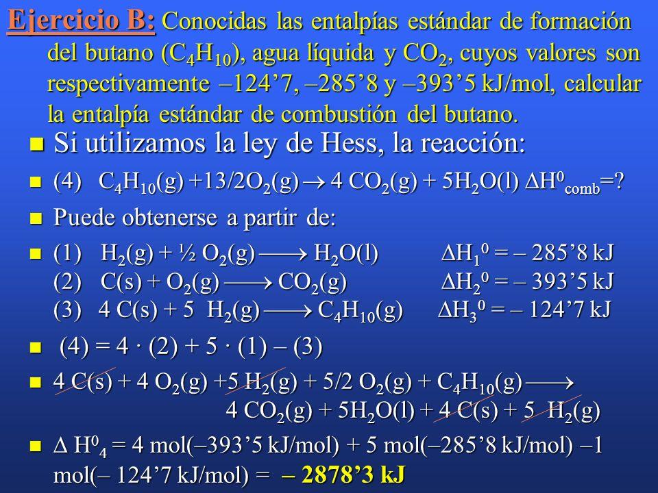 Ejemplo: Conocidas las entalpías estándar de formación del butano (C 4 H 10 ), agua líquida y CO 2, cuyos valores son respectivamente –1247, –2858 y –