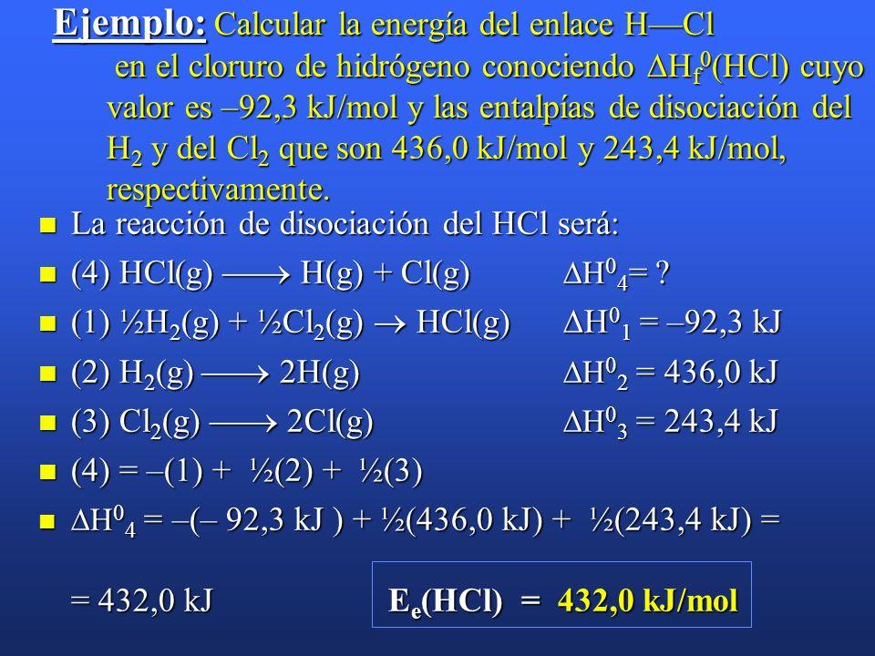 Energía de enlace. Es la energía necesaria para romper un enlace de un mol de sustancia en estado gaseosoEs la energía necesaria para romper un enlace