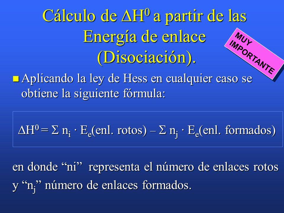 Ejemplo: Calcular la energía del enlace HCl en el cloruro de hidrógeno conociendo H f 0 (HCl) cuyo valor es –92,3 kJ/mol y las entalpías de disociació