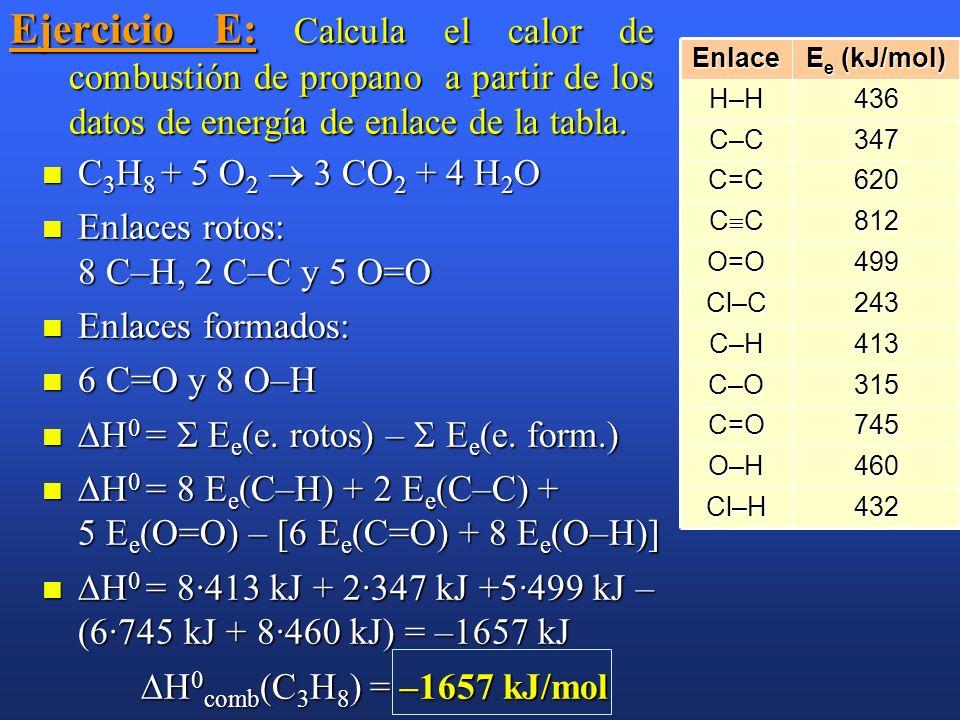 Ejemplo: Sabiendo que las energía de los siguientes enlaces (kJ/mol): C=C : 611; C–C : 347; C–H : 413 y H–H : 436, calcular el valor de H 0 de la reac