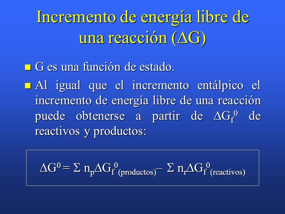Energía libre de Gibbs (G) (energía libre o entalpía libre). En procesos a T constante se define como: En procesos a T constante se define como: G = H