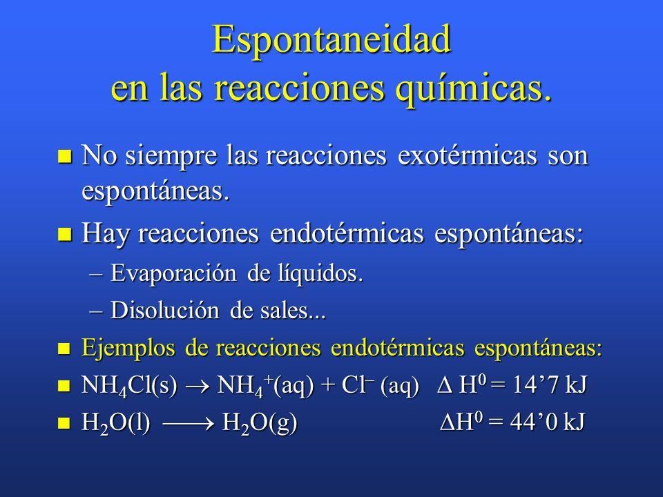 Energía libre y Espontaneidad de las reacciones químicas Reactivos Energía libre (G) Productos G > 0 Energía libre (G) Reactivos Productos G < 0 Reac.