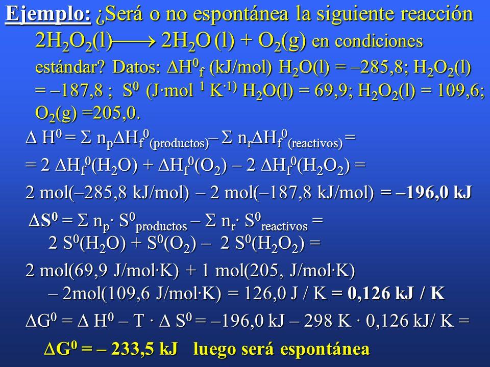 Espontaneidad de las reacciones químicas (cont). H > 0 S > 0 Espontánea a temperaturas altas H 0 Espontánea a todas las temperaturas H < 0 S < 0 Espon