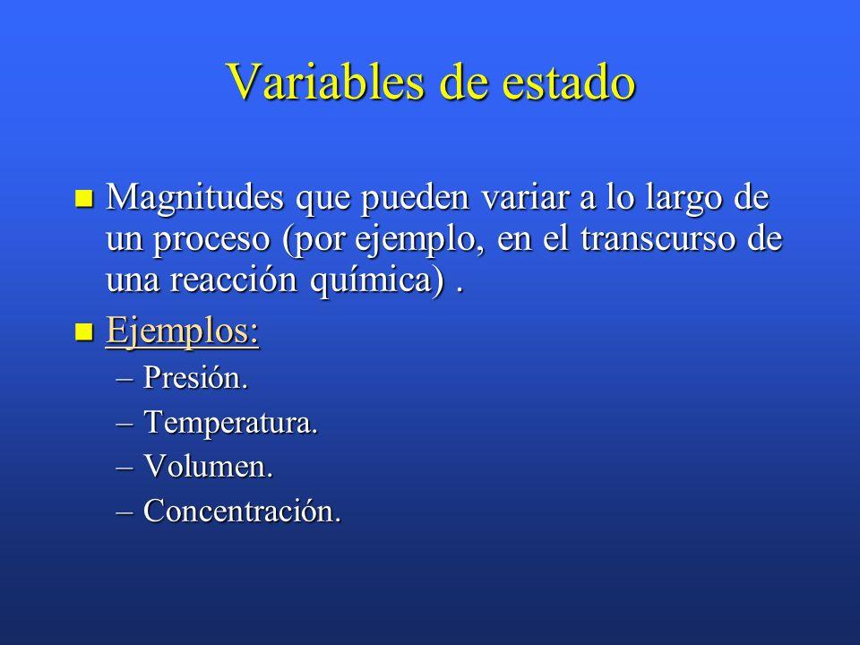 Variables de estado Magnitudes que pueden variar a lo largo de un proceso (por ejemplo, en el transcurso de una reacción química).