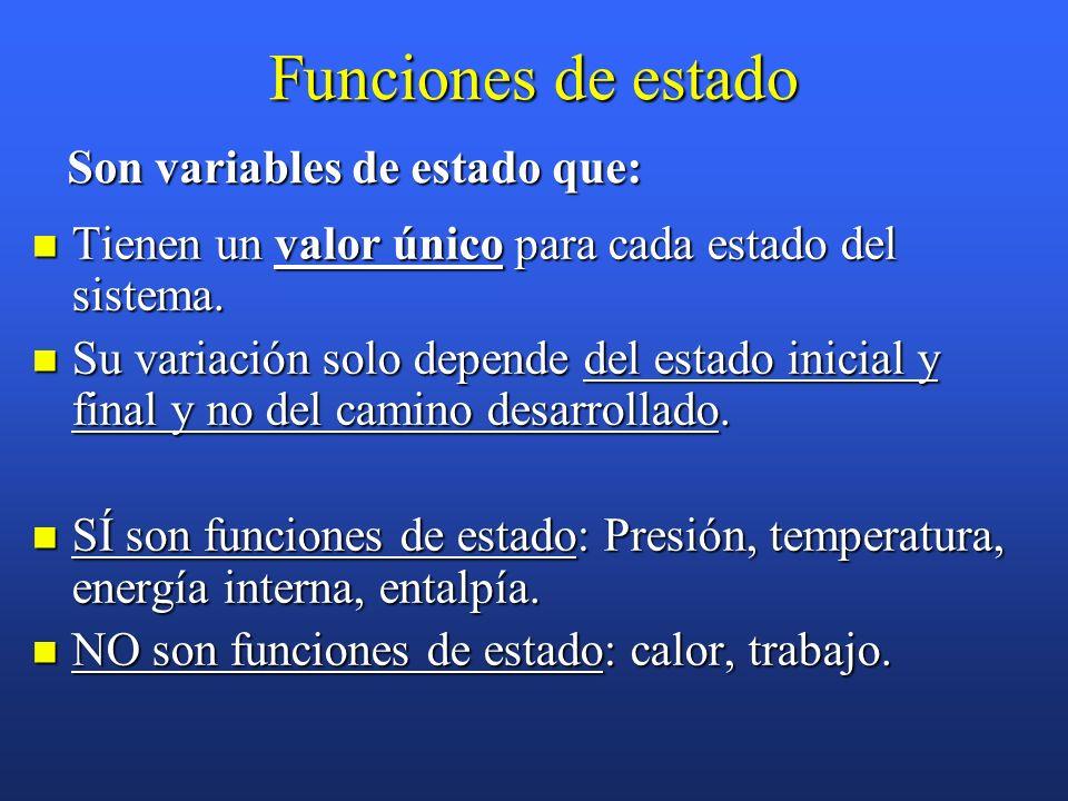 Funciones de estado Tienen un valor único para cada estado del sistema.