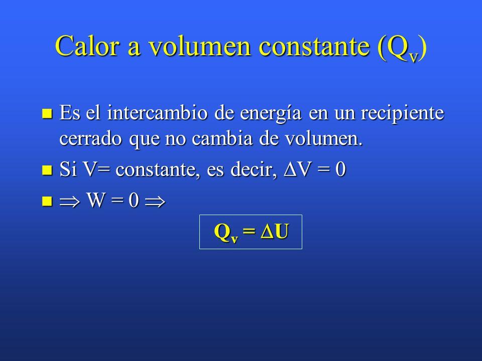 Calor a volumen constante (Q v Calor a volumen constante (Q v ) Es el intercambio de energía en un recipiente cerrado que no cambia de volumen.