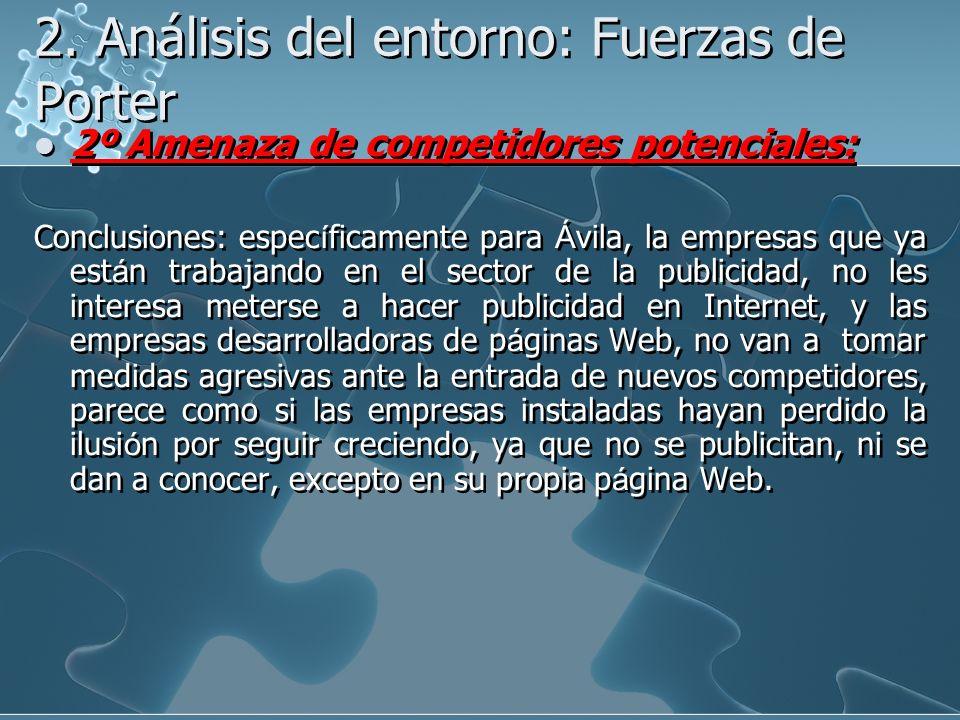 2. Análisis del entorno: Fuerzas de Porter 2º Amenaza de competidores potenciales: Conclusiones: espec í ficamente para Á vila, la empresas que ya est
