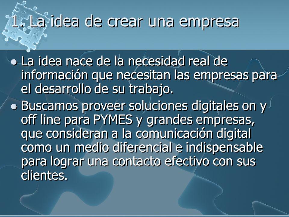 1. La idea de crear una empresa La idea nace de la necesidad real de información que necesitan las empresas para el desarrollo de su trabajo. Buscamos