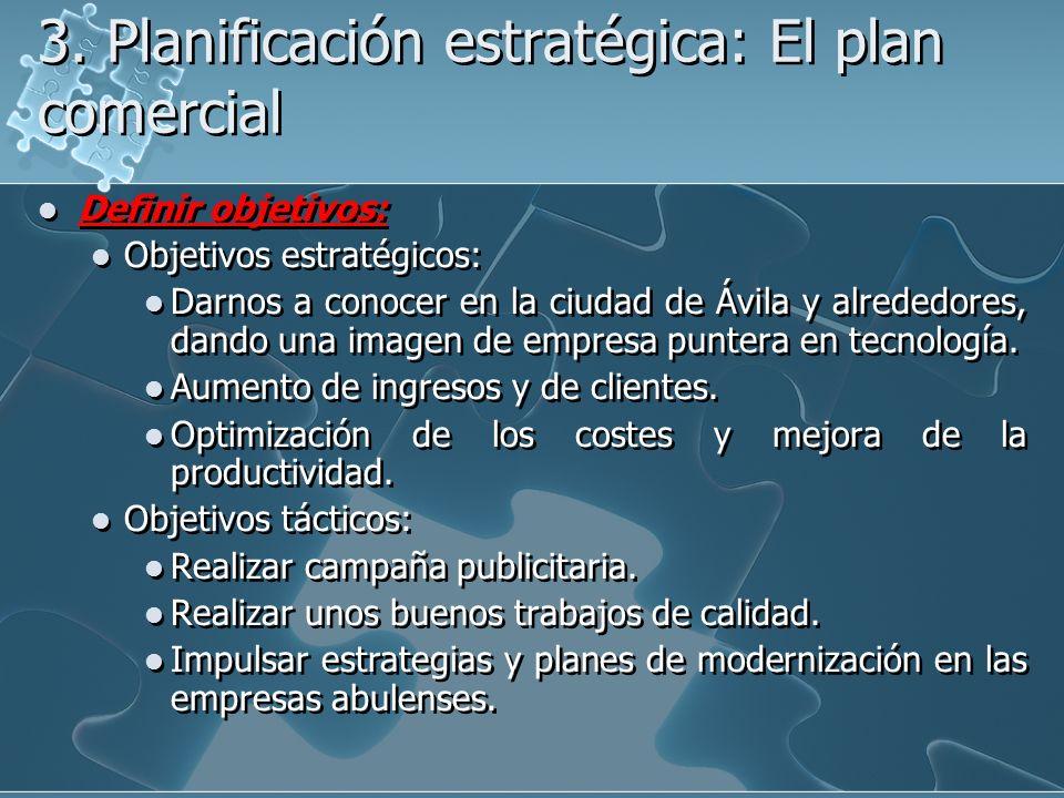 3. Planificación estratégica: El plan comercial Definir objetivos: Objetivos estratégicos: Darnos a conocer en la ciudad de Ávila y alrededores, dando