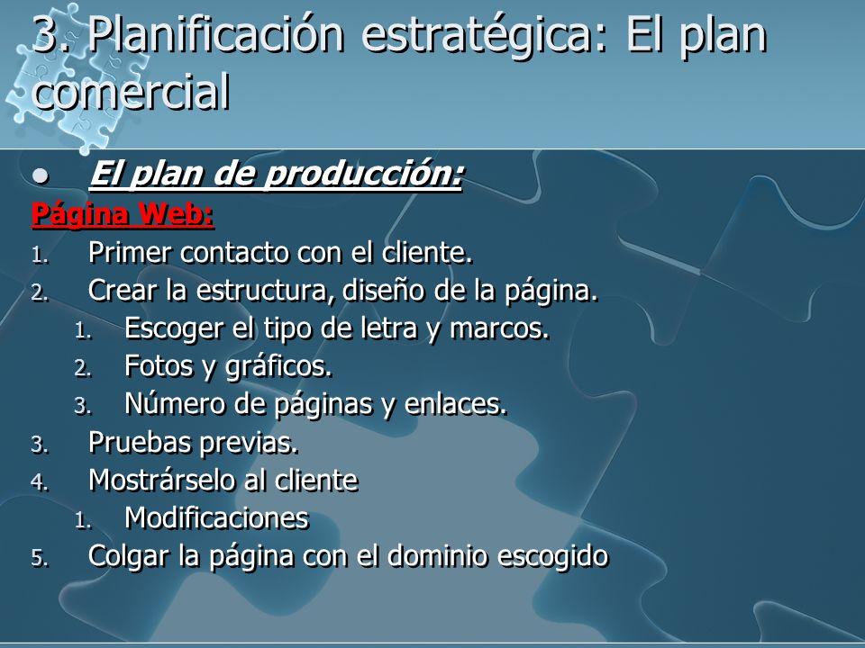 3. Planificación estratégica: El plan comercial El plan de producción: Página Web: 1. Primer contacto con el cliente. 2. Crear la estructura, diseño d