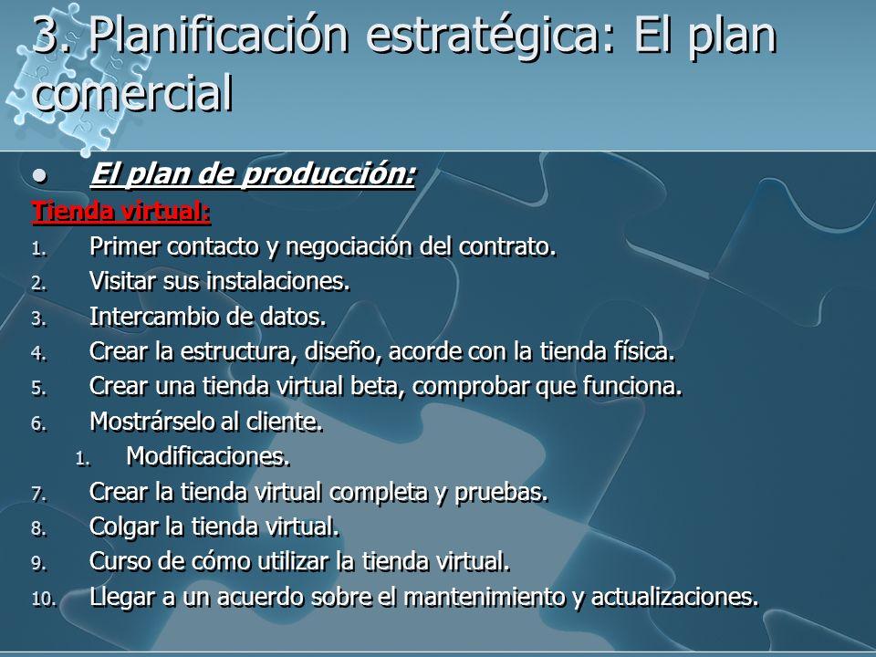 3. Planificación estratégica: El plan comercial El plan de producción: Tienda virtual: 1. Primer contacto y negociación del contrato. 2. Visitar sus i