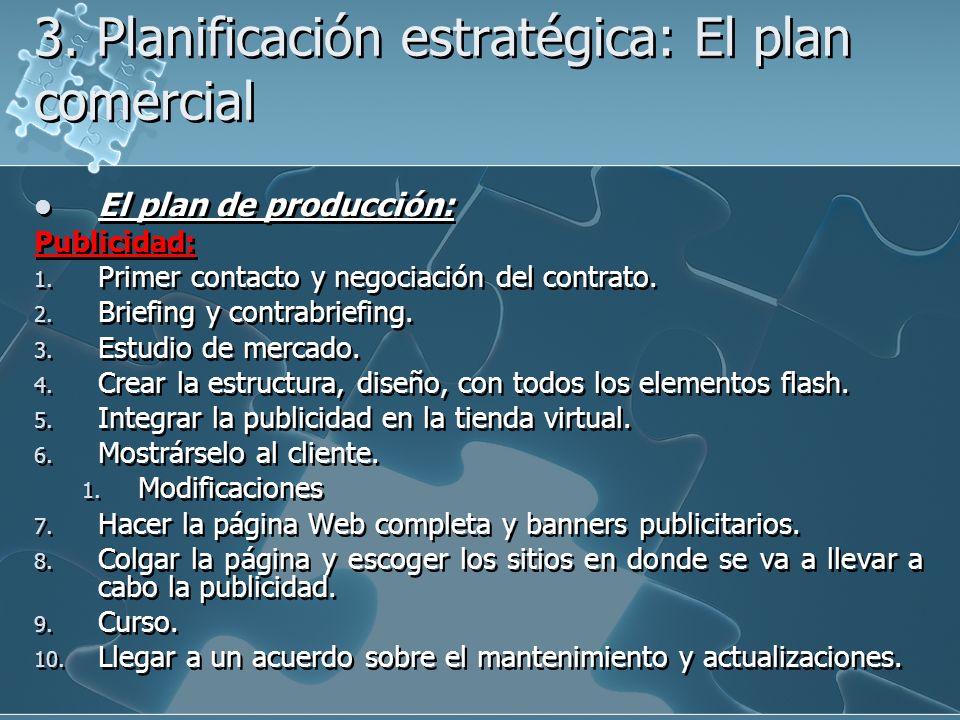 3. Planificación estratégica: El plan comercial El plan de producción: Publicidad: 1. Primer contacto y negociación del contrato. 2. Briefing y contra