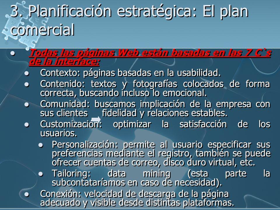 3. Planificación estratégica: El plan comercial Todas las páginas Web están basadas en las 7 C`s de la interface: Contexto: páginas basadas en la usab