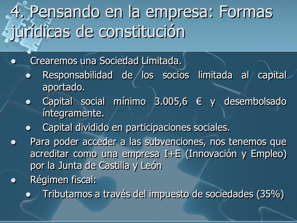 4. Pensando en la empresa: Formas jurídicas de constitución Crearemos una Sociedad Limitada. Responsabilidad de los socios limitada al capital aportad