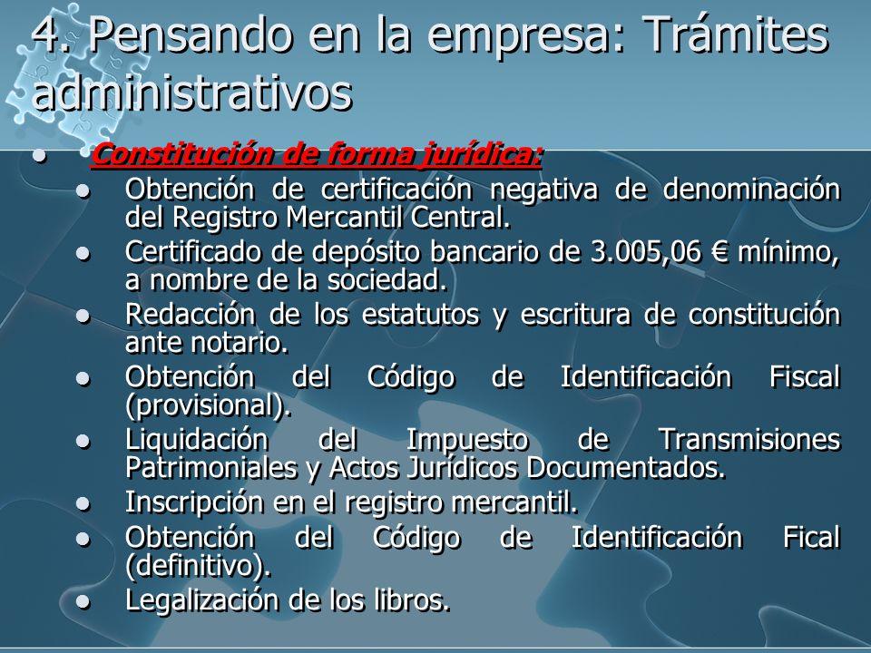 4. Pensando en la empresa: Trámites administrativos Constitución de forma jurídica: Obtención de certificación negativa de denominación del Registro M