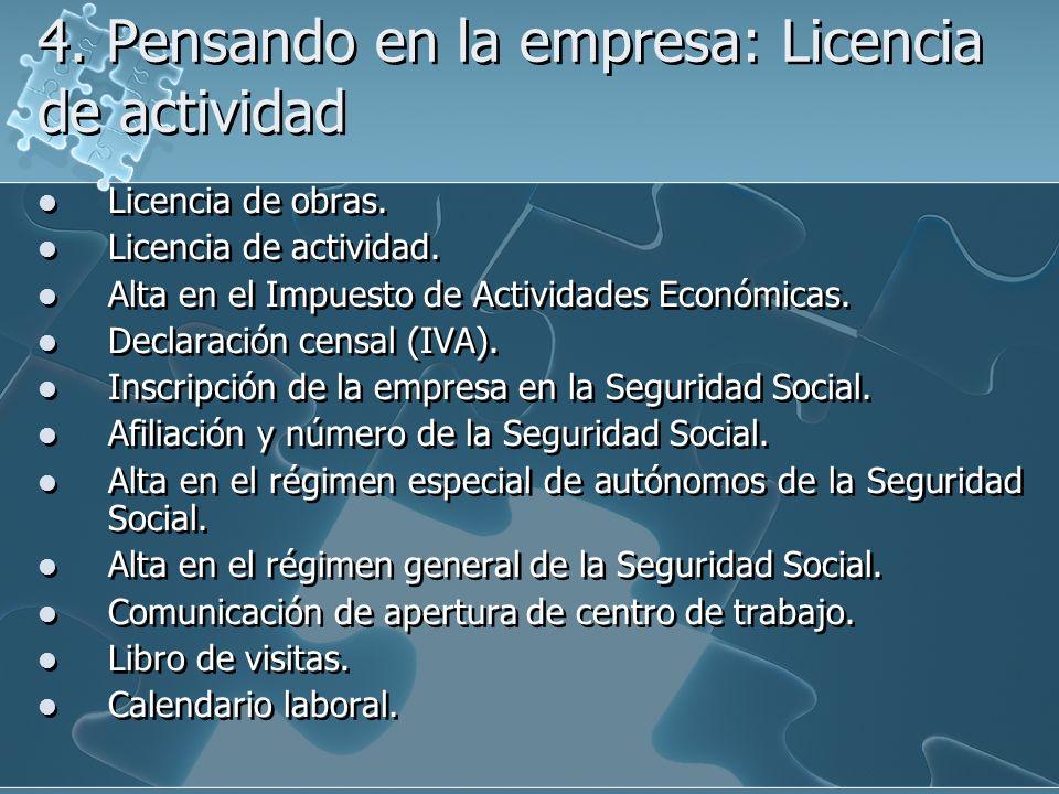 4. Pensando en la empresa: Licencia de actividad Licencia de obras. Licencia de actividad. Alta en el Impuesto de Actividades Económicas. Declaración