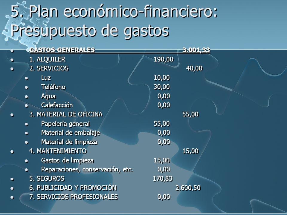 5. Plan económico-financiero: Presupuesto de gastos GASTOS GENERALES3.001,33 1. ALQUILER190,00 2. SERVICIOS 40,00 Luz10,00 Teléfono30,00 Agua 0,00 Cal