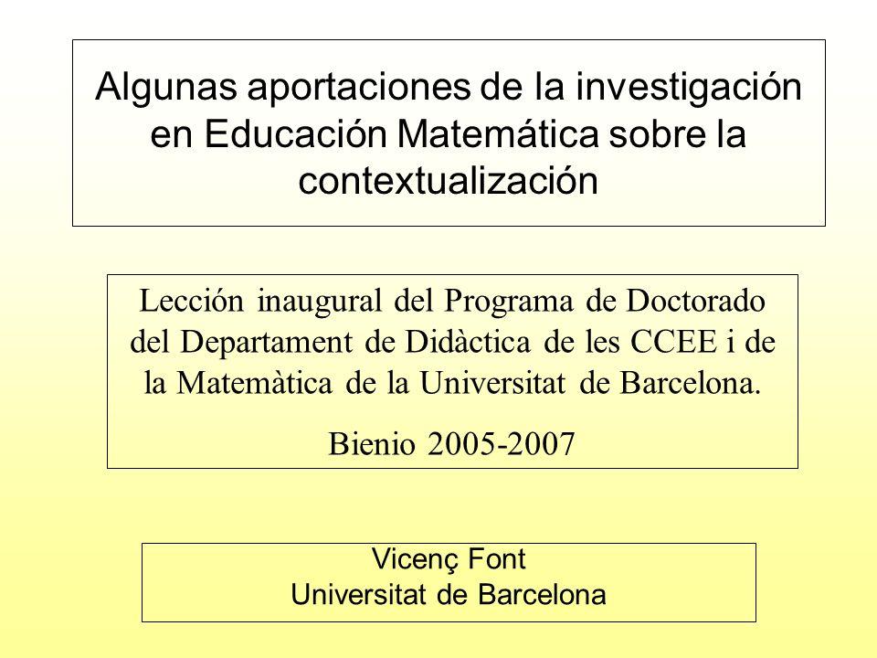 Se pretende utilizar algunas herramientas teóricas proporcionadas por la investigación en didáctica de las matemáticas para reflexionar sobre el constructo contexto.