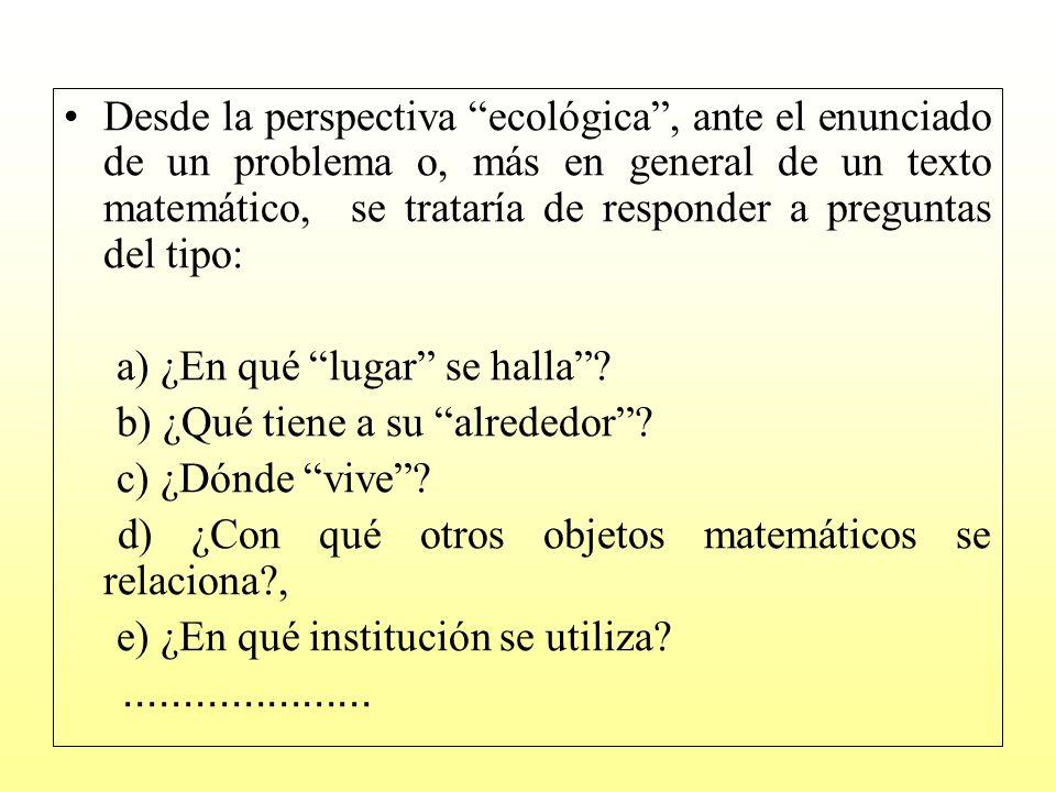 Un ejemplo como contexto de reflexión A continuación tenemos dos textos en los que el lector puede reconocer el objeto matemático función: Texto 1.