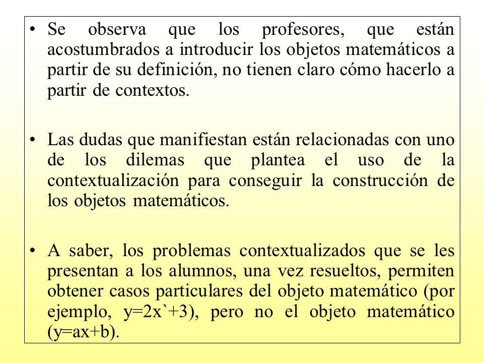 Para abordar este problema es necesario entender los procesos de descontextualización en términos de la quíntupla (S, R, S, la relación es, OM) Se parte de una situación de contexto no matemático S, que como resultado de una simplificación, esquematización, simbolización, metáfora creativa, etc.
