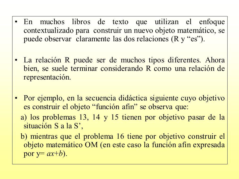 En muchos libros de texto que utilizan el enfoque contextualizado para construir un nuevo objeto matemático, se puede observar claramente las dos rela
