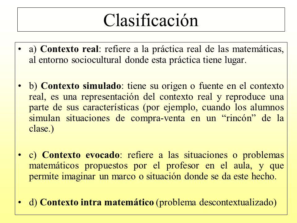 Clasificación de los problemas de contexto evocado
