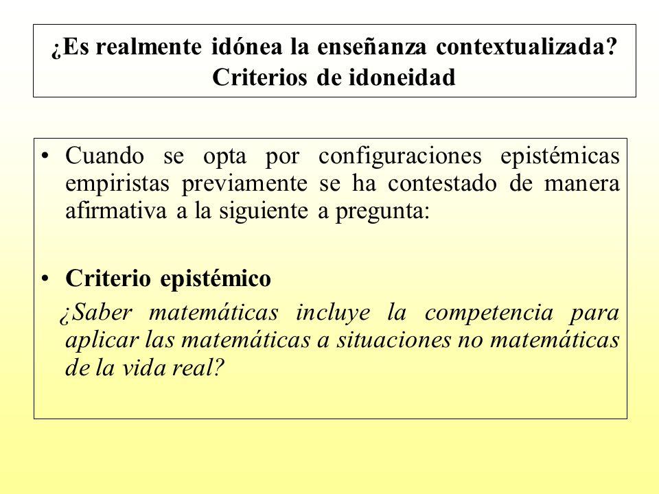Si la respuesta a la pregunta epistémica es que el saber matemáticas implica saberlas aplicar a la resolución de contextos no matemáticos, hay que formularse la siguiente pregunta: ¿Cómo conseguir que los alumnos sean competentes en la aplicación de las matemáticas a contextos no matemáticos?