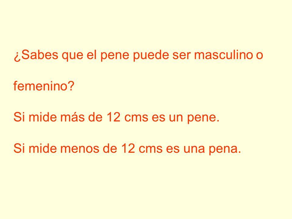 ¿Sabes que el pene puede ser masculino o femenino? Si mide más de 12 cms es un pene. Si mide menos de 12 cms es una pena.