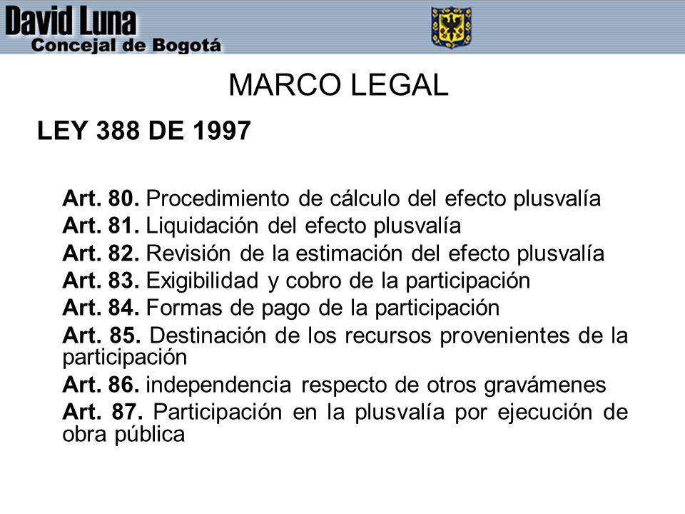MARCO LEGAL LEY 388 DE 1997 Art. 80. Procedimiento de cálculo del efecto plusvalía Art. 81. Liquidación del efecto plusvalía Art. 82. Revisión de la e