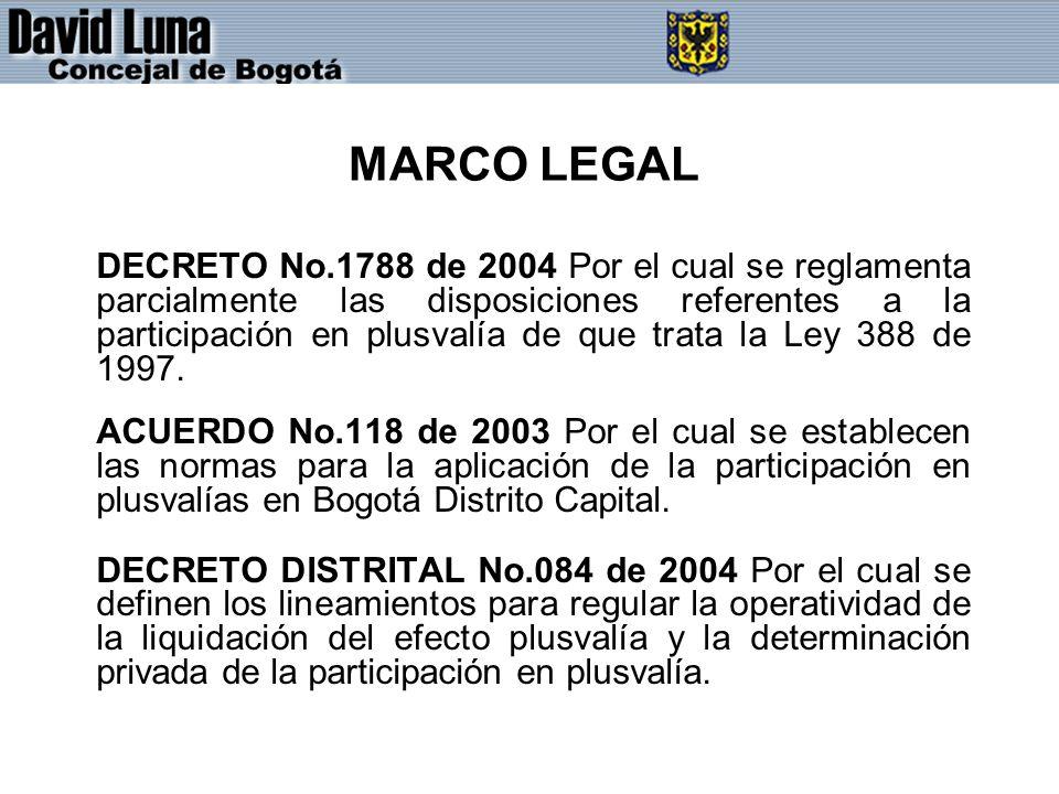 MARCO LEGAL DECRETO No.1788 de 2004 Por el cual se reglamenta parcialmente las disposiciones referentes a la participación en plusvalía de que trata l