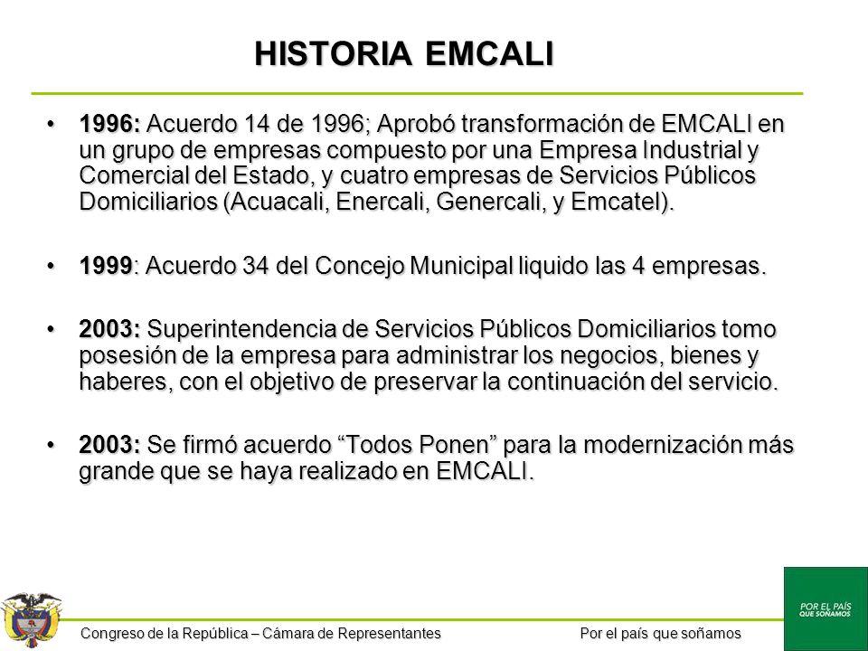 Congreso de la República – Cámara de Representantes Por el país que soñamos HISTORIA EMCALI 1996: Acuerdo 14 de 1996; Aprobó transformación de EMCALI
