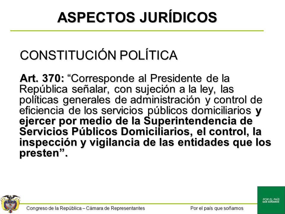 Congreso de la República – Cámara de Representantes Por el país que soñamos ASPECTOS JURÍDICOS CONSTITUCIÓN POLÍTICA Art. 370: Corresponde al Presiden