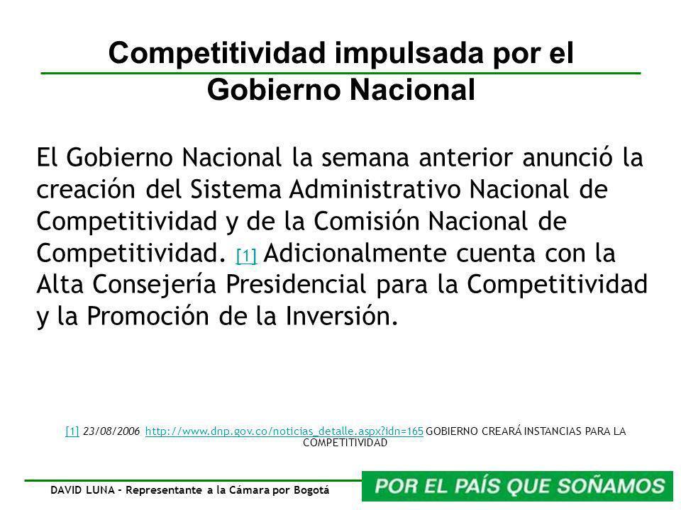 Competitividad impulsada por el Gobierno Nacional El Gobierno Nacional la semana anterior anunció la creación del Sistema Administrativo Nacional de Competitividad y de la Comisión Nacional de Competitividad.