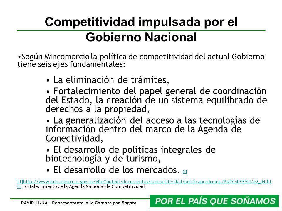 Competitividad impulsada por el Gobierno Nacional Según Mincomercio la política de competitividad del actual Gobierno tiene seis ejes fundamentales: L