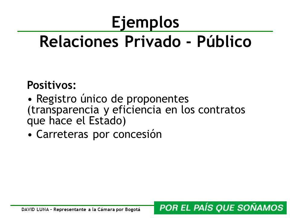 Ejemplos Relaciones Privado - Público Positivos: Registro único de proponentes (transparencia y eficiencia en los contratos que hace el Estado) Carreteras por concesión DAVID LUNA - Representante a la Cámara por Bogotá