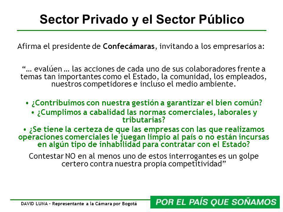 Sector Privado y el Sector Público Afirma el presidente de Confecámaras, invitando a los empresarios a: … evalúen … las acciones de cada uno de sus colaboradores frente a temas tan importantes como el Estado, la comunidad, los empleados, nuestros competidores e incluso el medio ambiente.