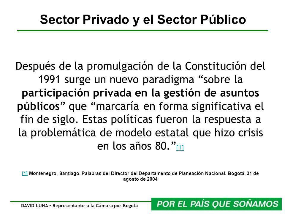 Después de la promulgación de la Constitución del 1991 surge un nuevo paradigma sobre la participación privada en la gestión de asuntos públicos que m