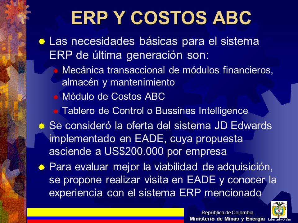 ERP Y COSTOS ABC Las necesidades básicas para el sistema ERP de última generación son: Mecánica transaccional de módulos financieros, almacén y manten