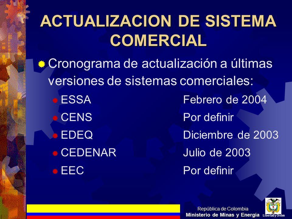 ACTUALIZACION DE SISTEMA COMERCIAL Cronograma de actualización a últimas versiones de sistemas comerciales: ESSAFebrero de 2004 CENSPor definir EDEQDi