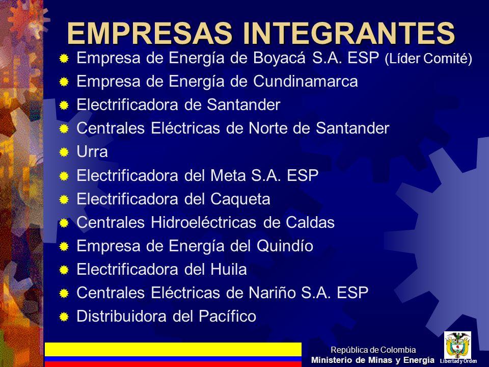 EMPRESAS INTEGRANTES Empresa de Energía de Boyacá S.A. ESP (Líder Comité) Empresa de Energía de Cundinamarca Electrificadora de Santander Centrales El