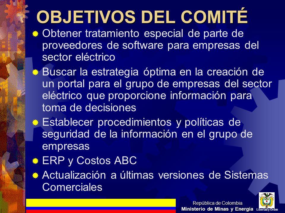 OBJETIVOS DEL COMITÉ Obtener tratamiento especial de parte de proveedores de software para empresas del sector eléctrico Buscar la estrategia óptima e