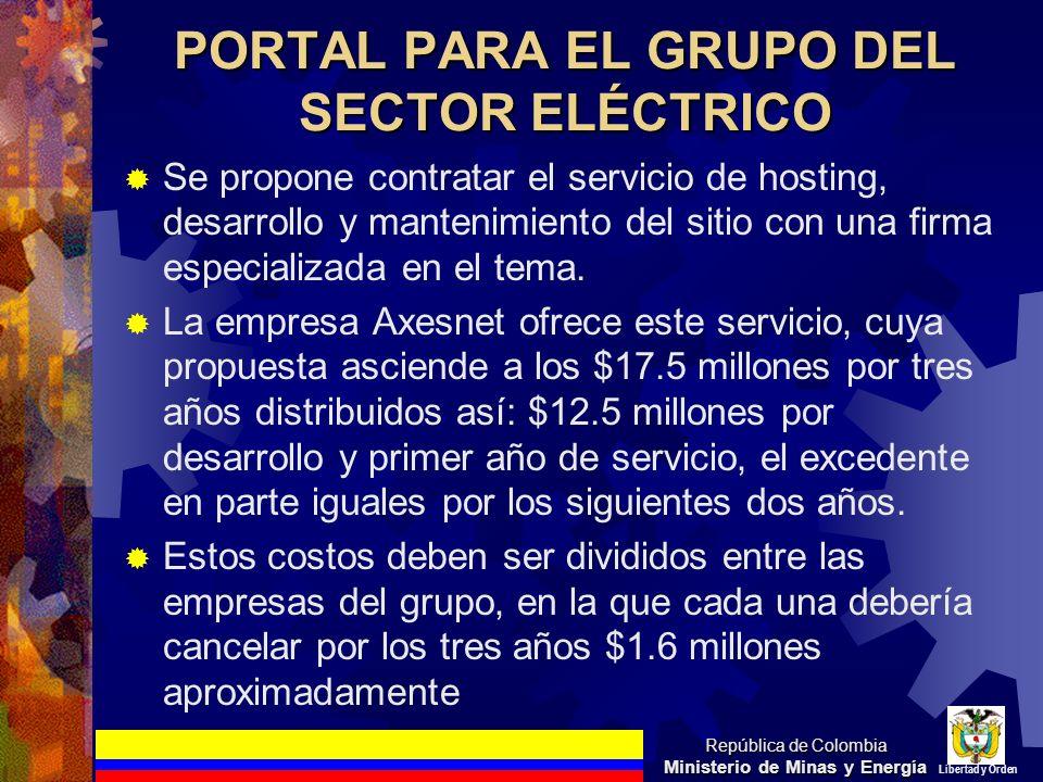 PORTAL PARA EL GRUPO DEL SECTOR ELÉCTRICO Se propone contratar el servicio de hosting, desarrollo y mantenimiento del sitio con una firma especializad