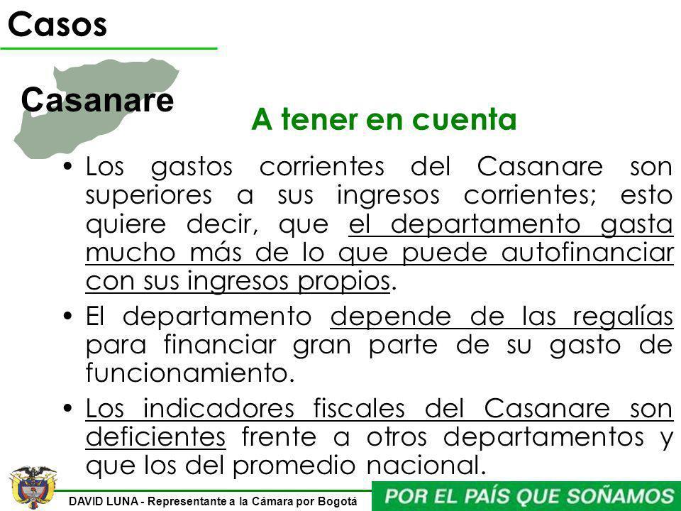 DAVID LUNA - Representante a la Cámara por Bogotá A tener en cuenta Los gastos corrientes del Casanare son superiores a sus ingresos corrientes; esto