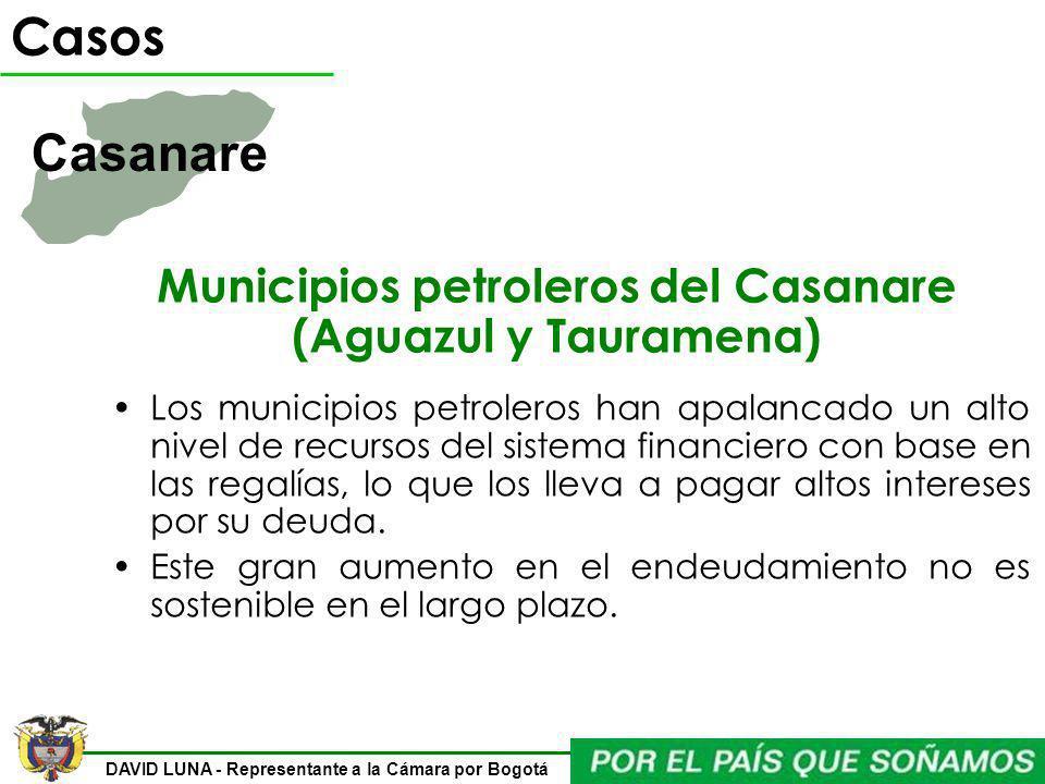 DAVID LUNA - Representante a la Cámara por Bogotá Municipios petroleros del Casanare (Aguazul y Tauramena) Los municipios petroleros han apalancado un