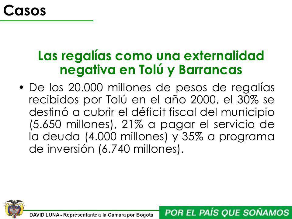 DAVID LUNA - Representante a la Cámara por Bogotá De los 20.000 millones de pesos de regalías recibidos por Tolú en el año 2000, el 30% se destinó a c