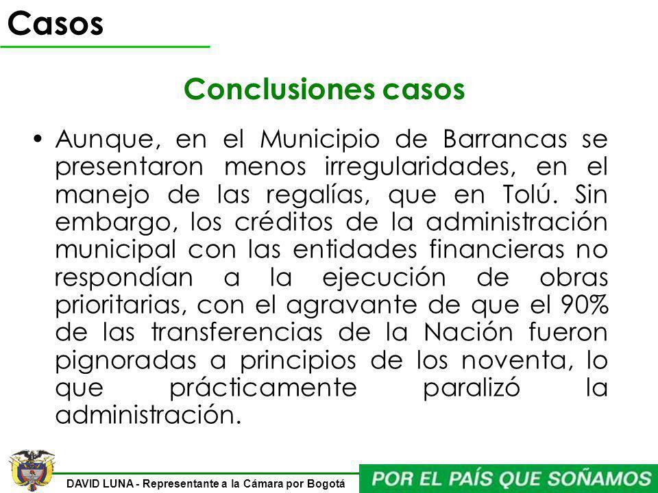 DAVID LUNA - Representante a la Cámara por Bogotá Aunque, en el Municipio de Barrancas se presentaron menos irregularidades, en el manejo de las regal