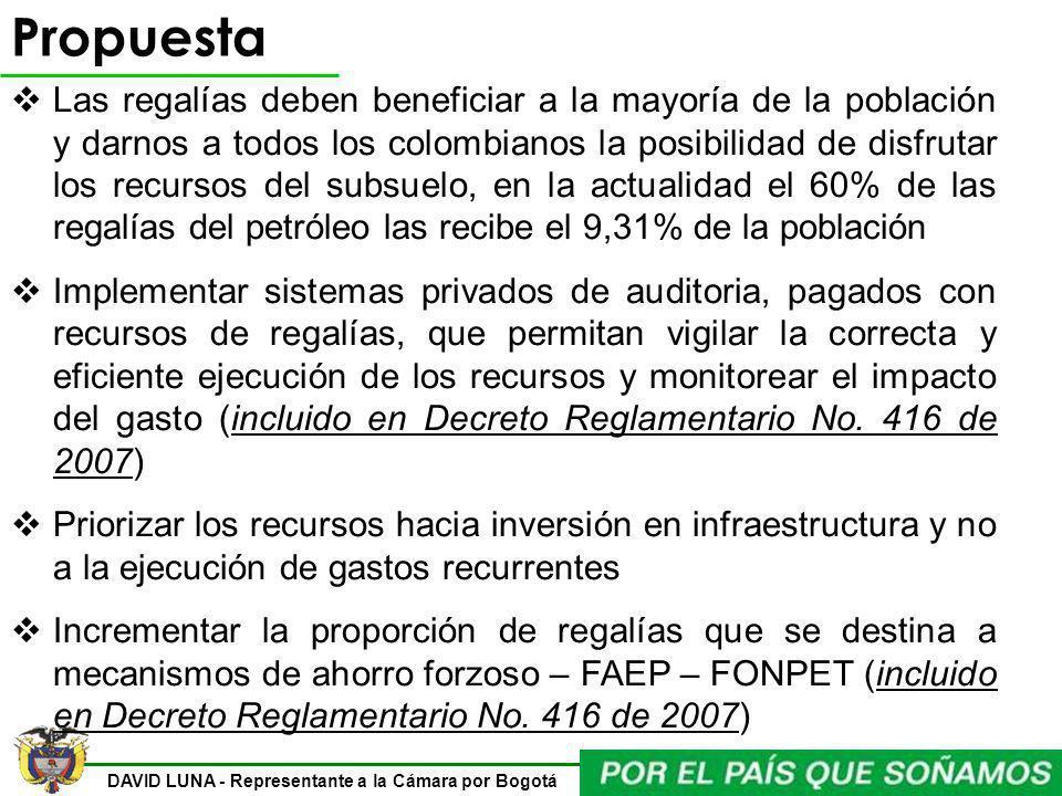 DAVID LUNA - Representante a la Cámara por Bogotá Propuesta Las regalías deben beneficiar a la mayoría de la población y darnos a todos los colombiano