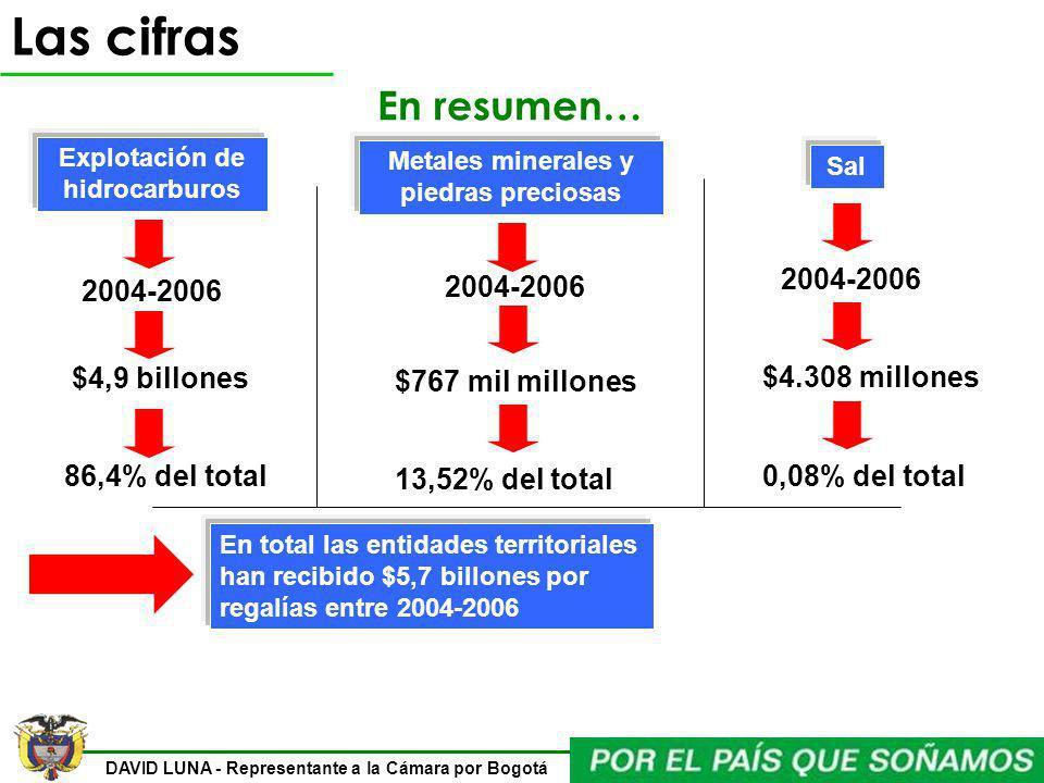 DAVID LUNA - Representante a la Cámara por Bogotá Las cifras En resumen… Explotación de hidrocarburos Sal Metales minerales y piedras preciosas 2004-2