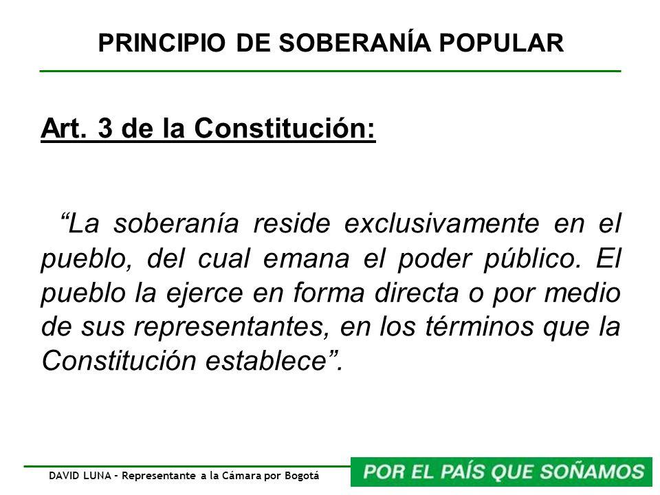 PRINCIPIO DE SOBERANÍA POPULAR Art. 3 de la Constitución: La soberanía reside exclusivamente en el pueblo, del cual emana el poder público. El pueblo