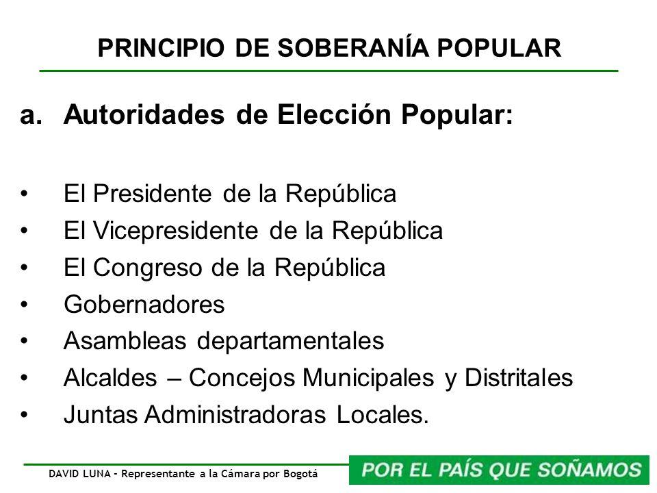 PRINCIPIO DE SOBERANÍA POPULAR a.Autoridades de Elección Popular: El Presidente de la República El Vicepresidente de la República El Congreso de la Re